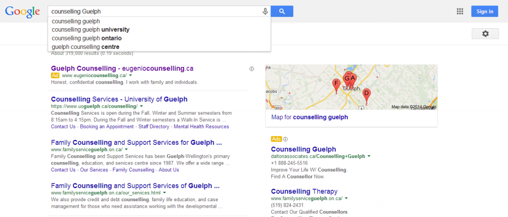 counselling-guelph-google-snapshot